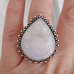 New Rainbow Moonstone Silver Ring. Size 9.25